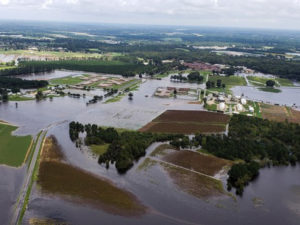 Aerial view of a flooded N.C. farm after Hurricane Florence