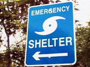 Hurricane shelter sign