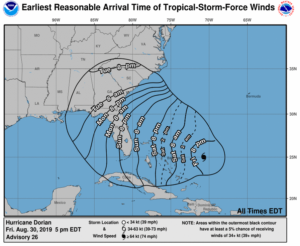 Earliest Possible Arrival of Tropical Storm Force Winds